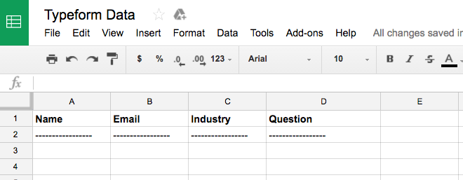 Typeform to Google Spreadsheet