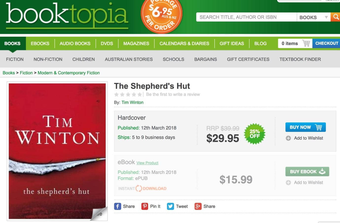 Booktopia shopping cart saved as wishlist to buy later.