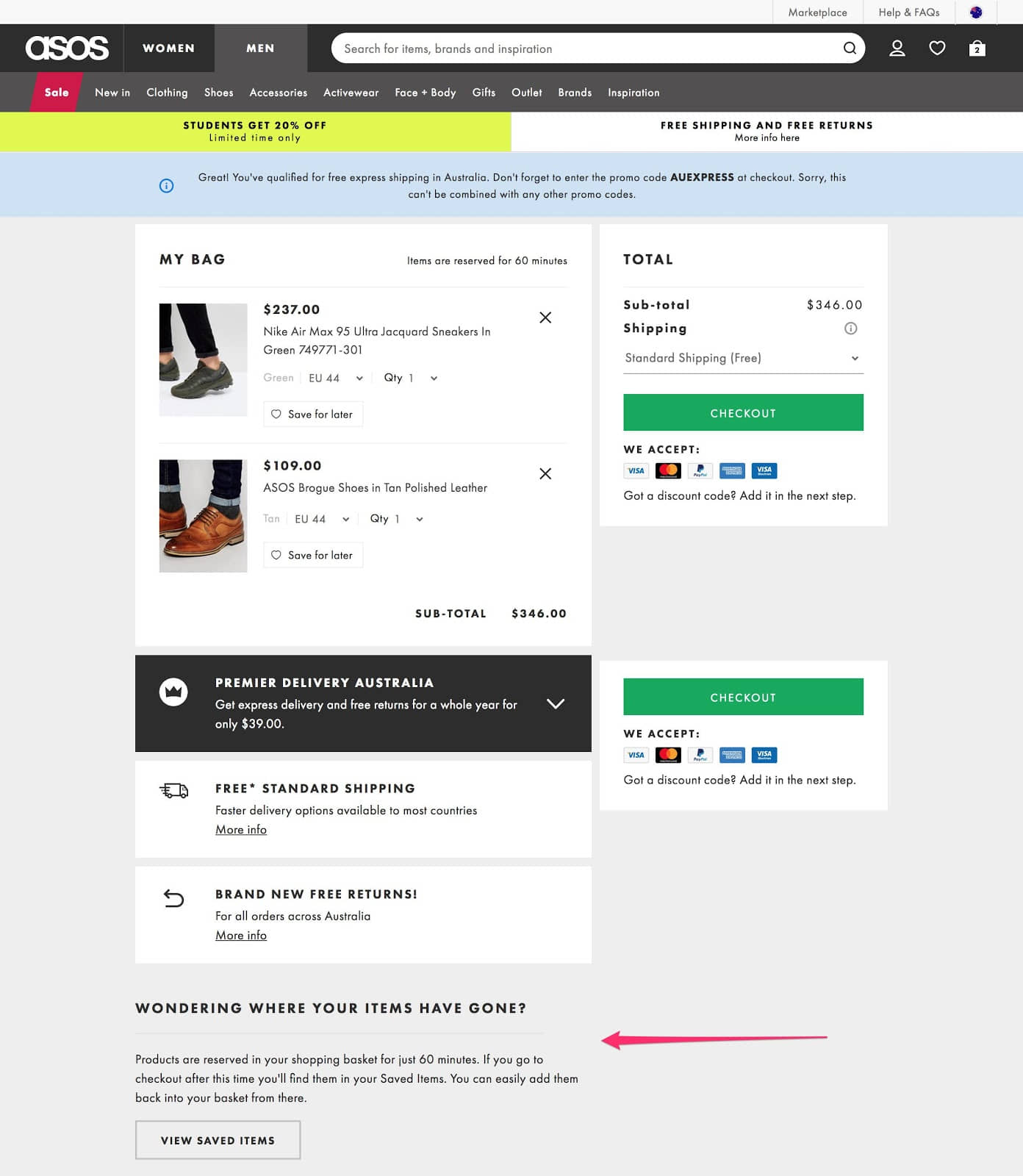 Show abandoned shopping cart items to user.