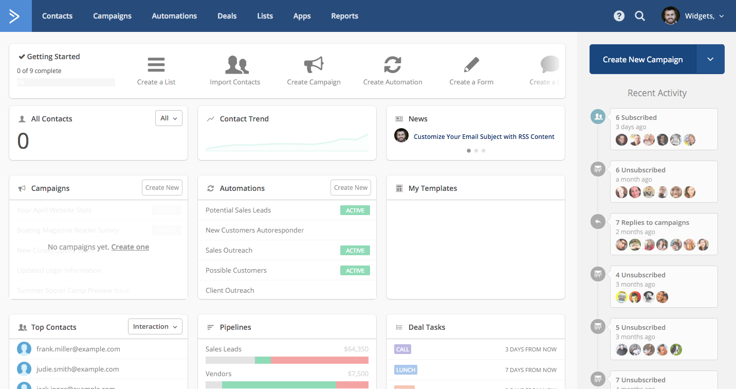 activecampaign dashboard