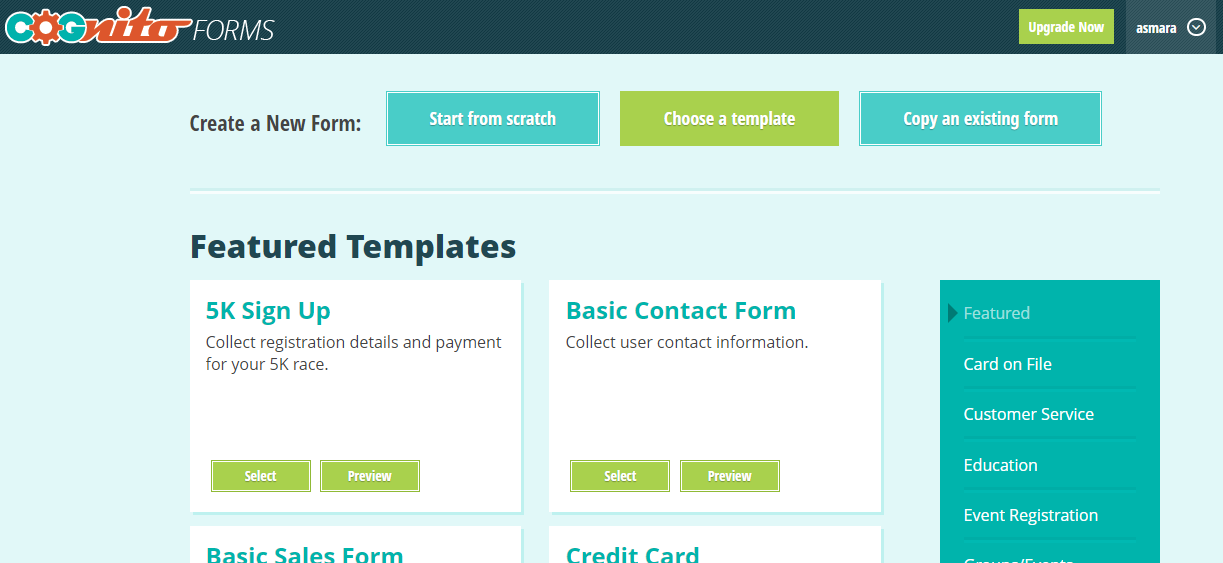 Templates in Cognito Forms