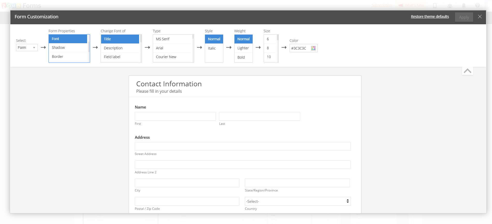 Theme Customization in Zoho Forms