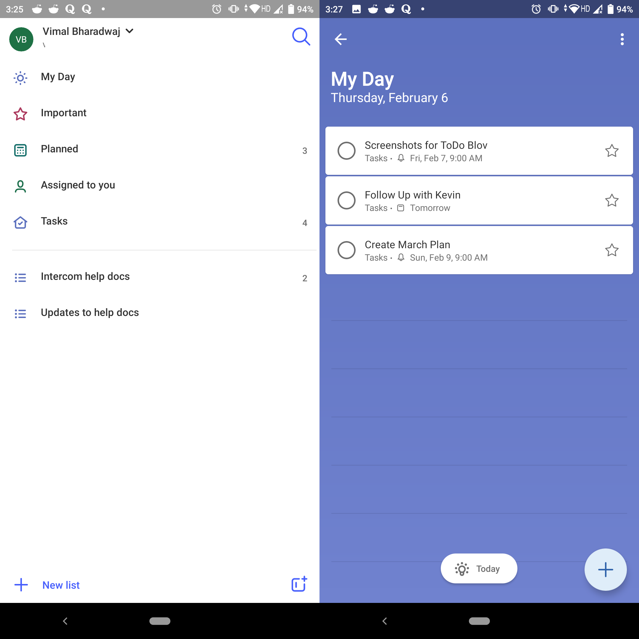 Microsoft To-Do - Mobile View (Android)