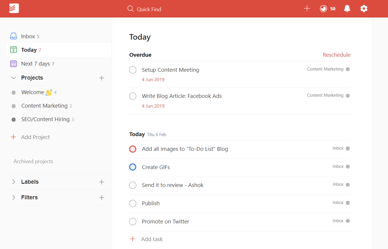 todoist Dashboard web - to-do list app