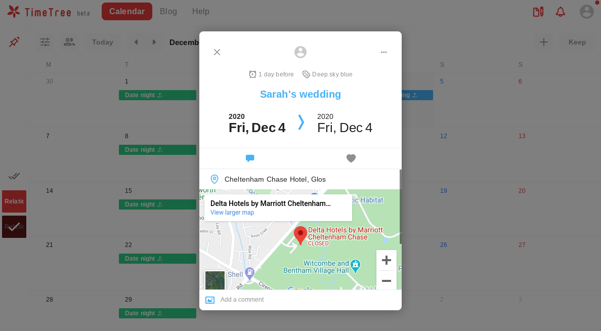 Map of an event in the calendar view