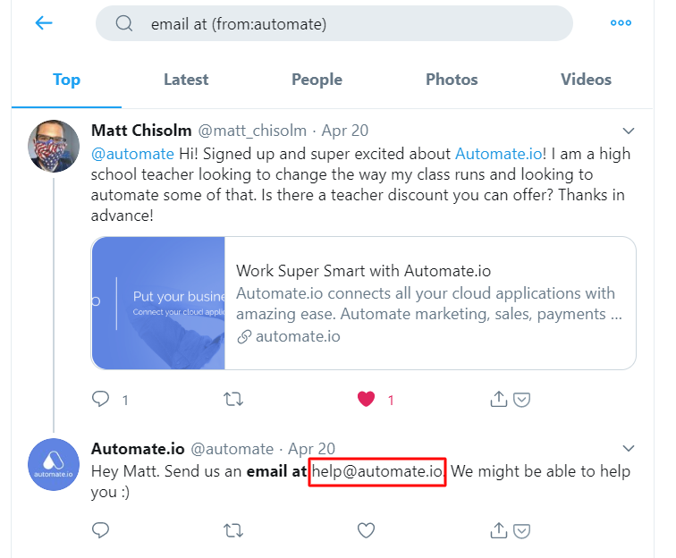 Twitter Advanced Search to Find an Email Address