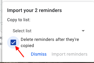 delete reminders in google tasks