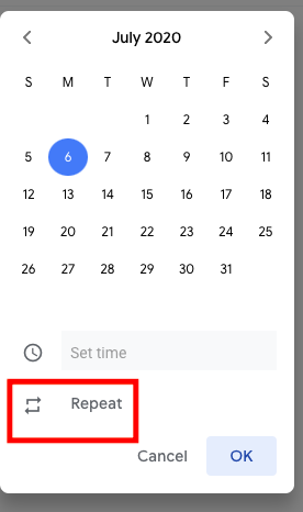 google tasks repeat