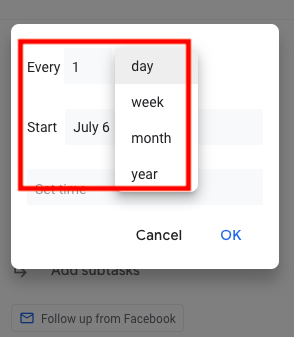 recurring tasks on Google Tasks