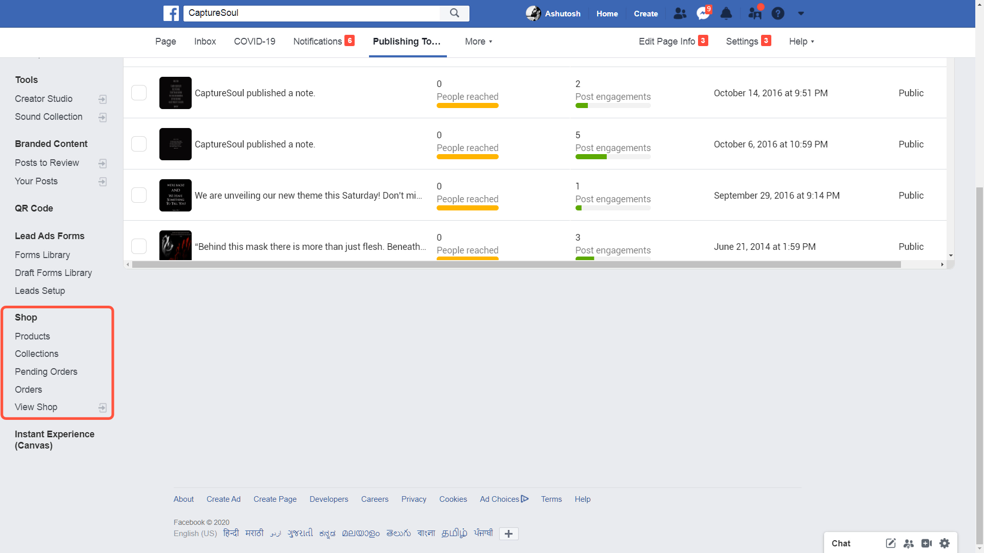 Manage products and orders on Facebook Page Shop