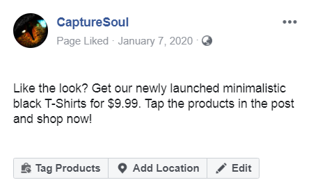 Tag Products in Facebook Post