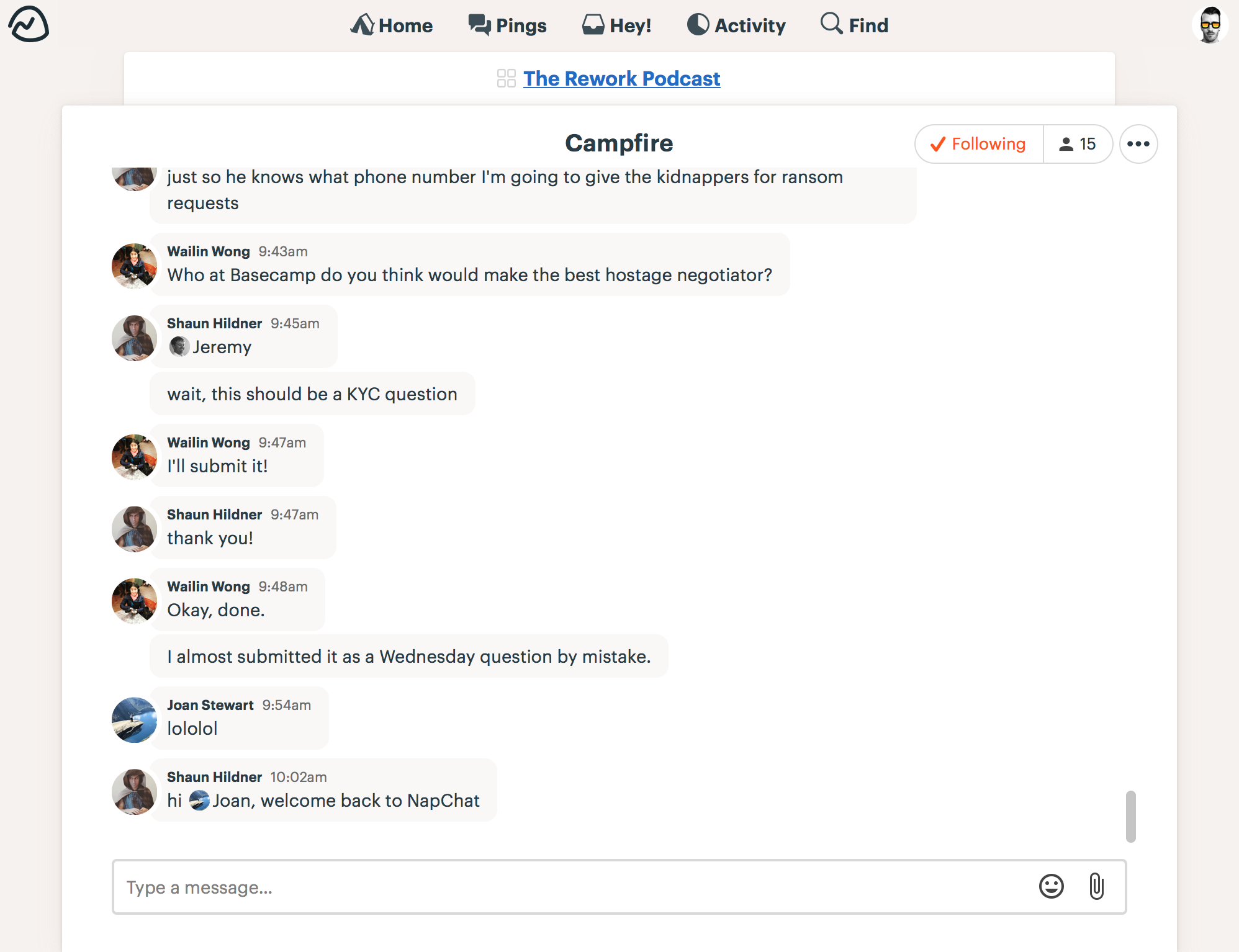 Basecamp real-time chat
