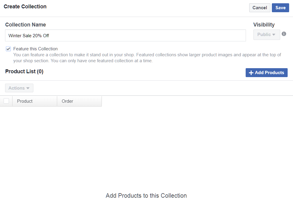 Add Facebook Collection