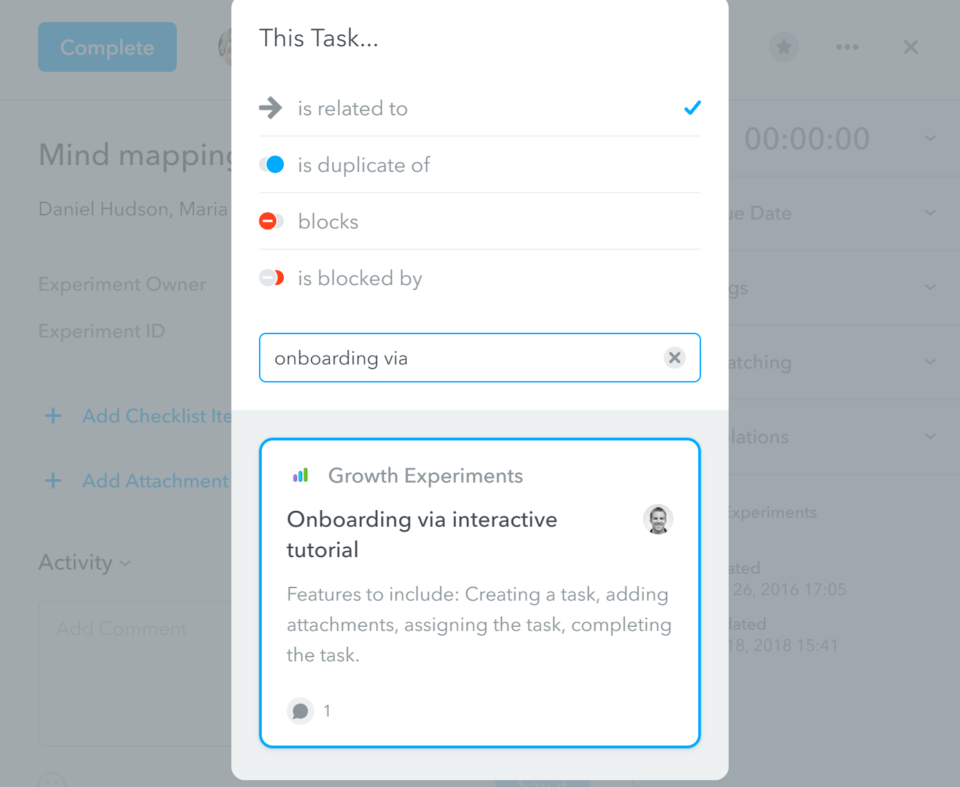 MeisterTask Task Relationship Feature