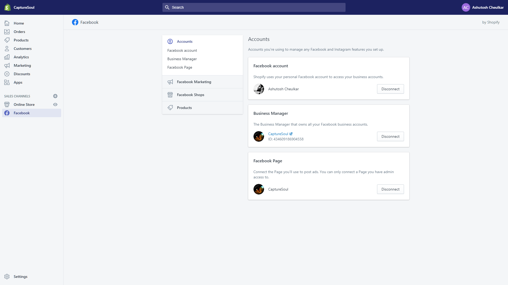 Connect Facebook accounts to Shopify