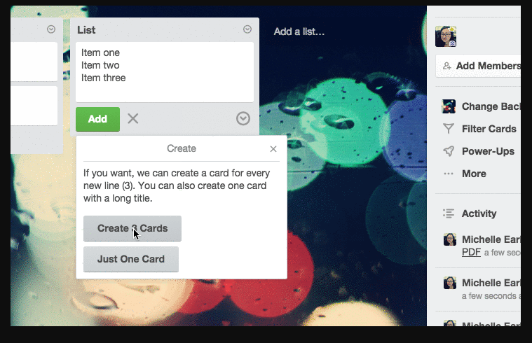 Trello: Submit multiple cards and checklist items